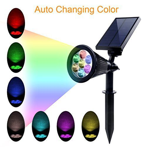Lumières solaires, projecteurs Solar Powered 2-en-1 paysage extérieur imperméable à l'eau réglable In-Ground / Wall Light Auto On / Off…