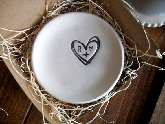 wedding ring dish,  ring holder, engagement, custom monogram initial tray,  Black and White,  Gift Boxed, Made to Order on Etsy, $28.00