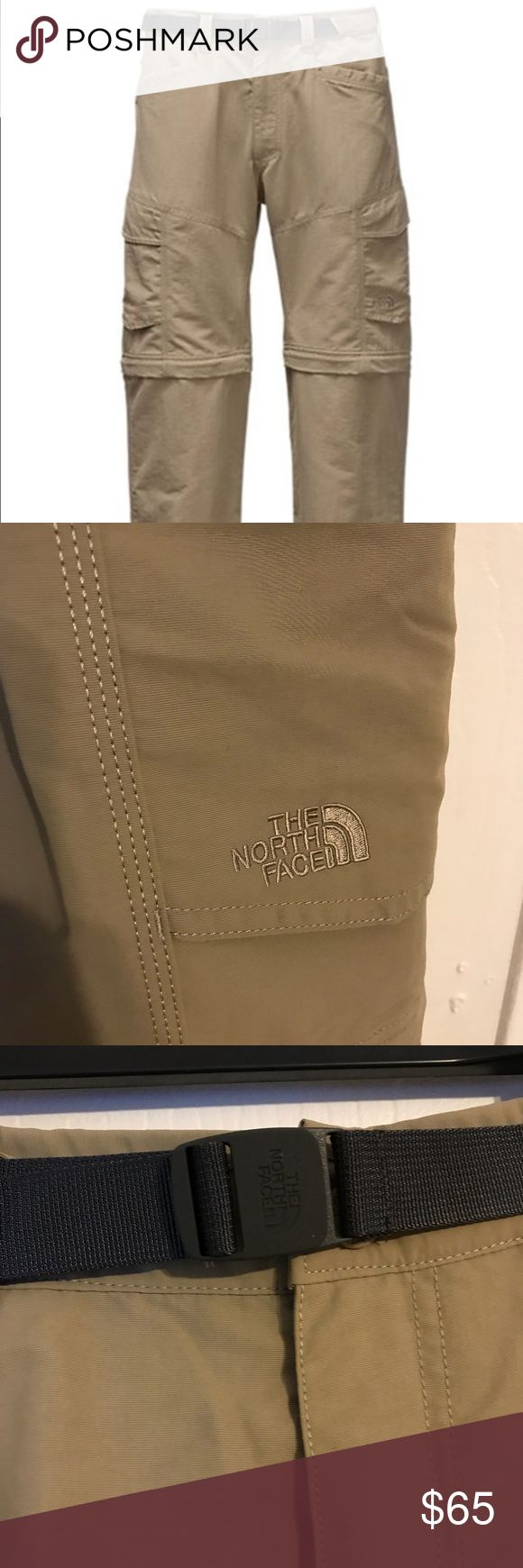 Northface cargos,brand new unused w/tags, nice The North Face Men's Paramount Peak II Pants legs unzip at knees, morphing into shorts, creating the ultimate transitional hiking pant/short combination. A DWR (durable water repellent) finish causes the fabric to shed moisture and keep the abrasion-resistant nylon exterior dry when exposed to light rainfall. The Elastic waistband at back with front webbed belt closure gives you a comfortable fit. These pants are 100% bluesign® approved fabric a…