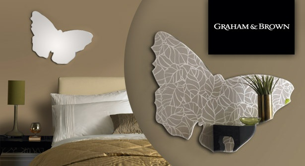 Adorn your home with an elegant, butterfly-shaped mirror by wall art experts Graham & Brown