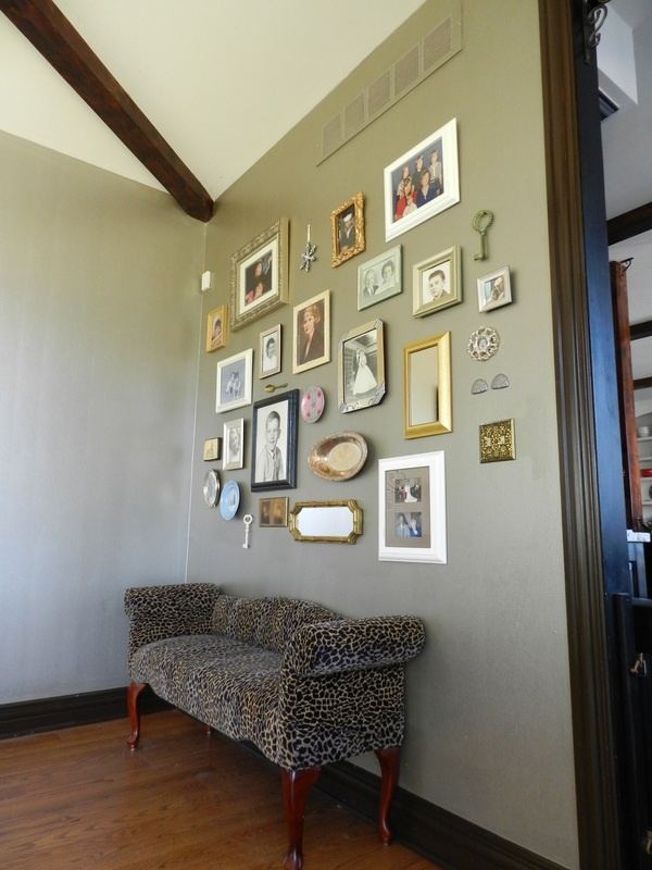 Photo & Objects collage on a wall: Dining Rooms, Blank Wall, Living Rooms, Area Rugs, Bare Wall, Photo Wall, Collage Wall, 80S Style, Art Pieces
