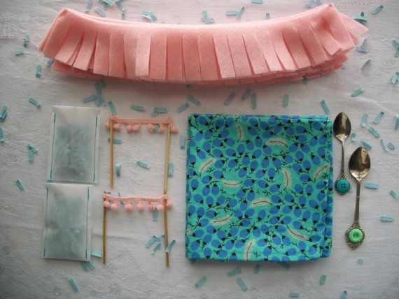 Pink and Blue Tea Party In A Box Kit for 2  Feather and Olive  by DownyandFloral