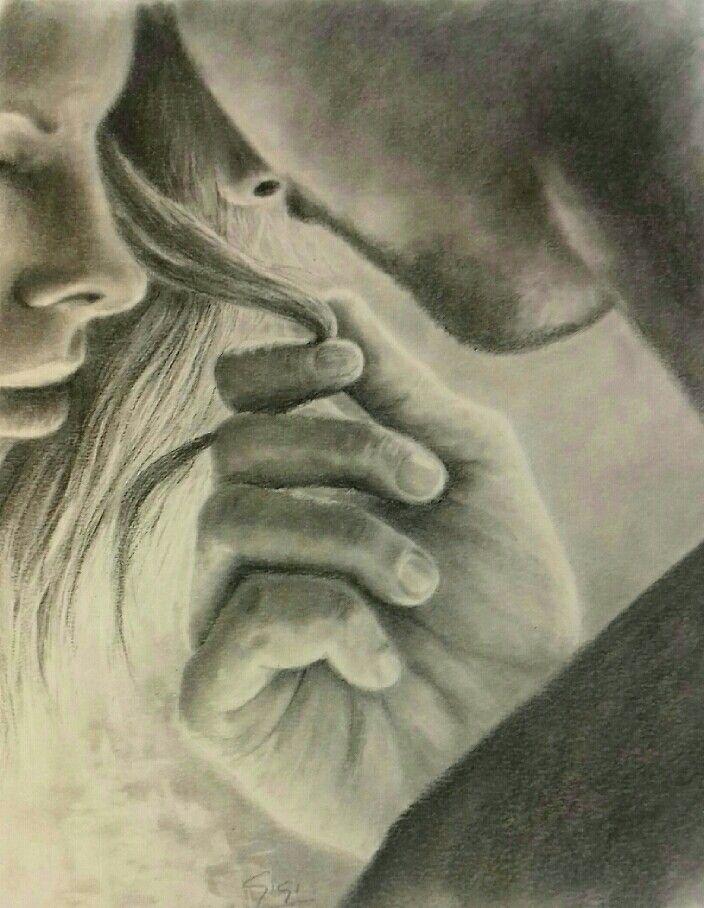 Dibujo a lápiz de grafito. Tamaño A3. En venta. Si aplicamos la técnica del Feng shui este cuadro activará la zona de la pareja y relaciones.