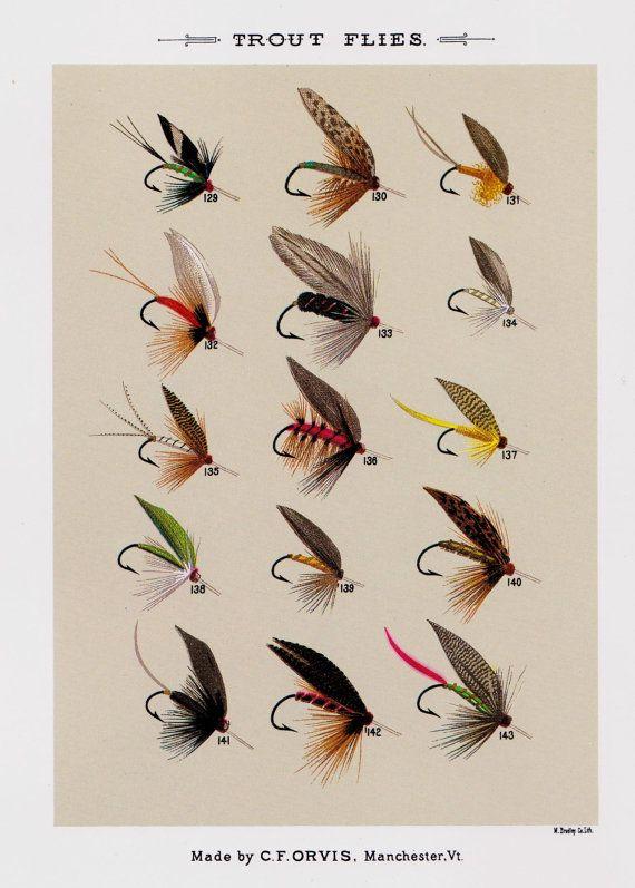 Mouche pêche Print truite pêche mouches Print Beach House décor cabine décor mural Art Plaindealing 1271p