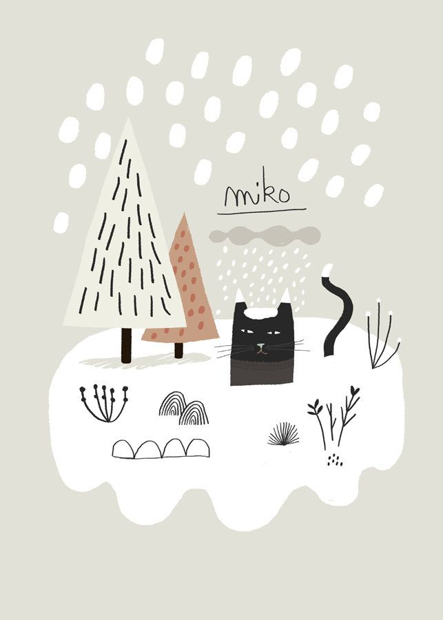 [ Cat ] Miko Snow. Cute illustration.