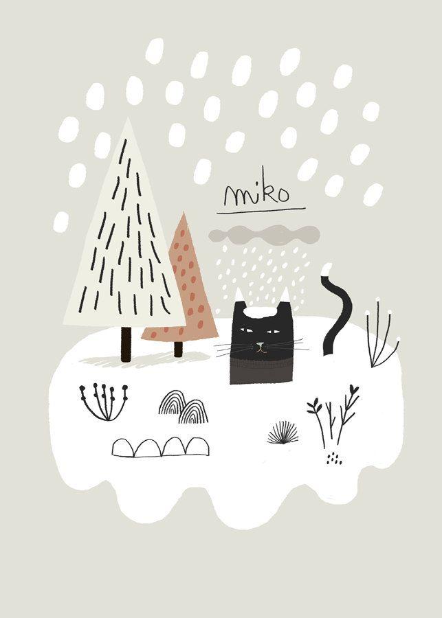 LITTLE NORDIC LOVES Miko Snow / Affiche Poster~ Mathilde Aubier Illustrations