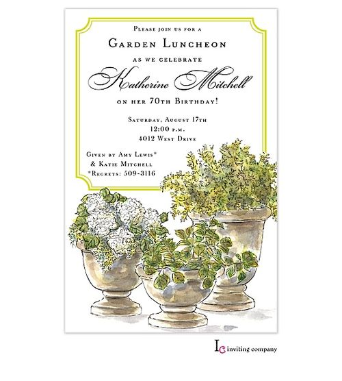 potted plants invitation adult birthday invitations all about gifts u0026 baskets