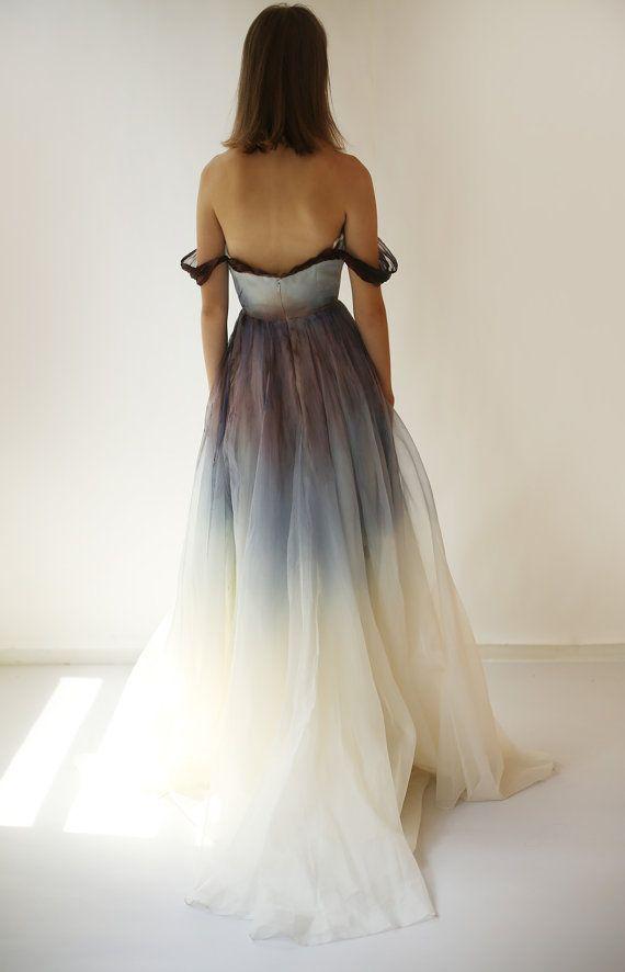 Verkauf handbemalt und gefärbte Seide Organza Kleid von Leanimal