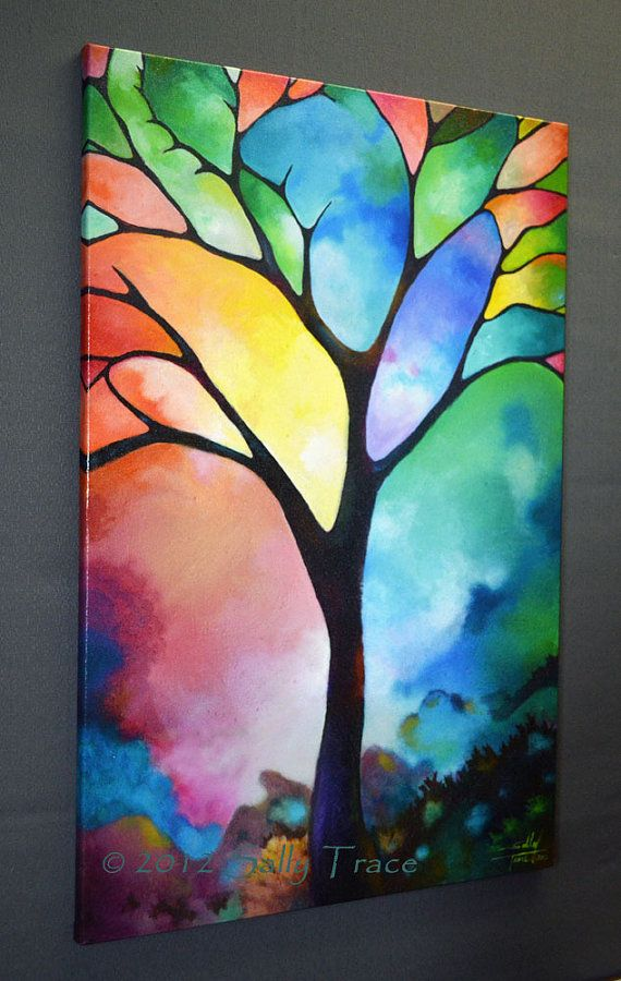 This giclee print is made from my beautiful painting Tree of Light. An elegant and stately tree describes a stained glass like image with