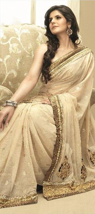65917, Party Wear Sarees, Bridal Wedding Sarees, Bollywood sarees, Net, Sequence, Resham, Lace, Beige and Brown Color Family