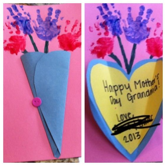 Handprint Bouquet | DIY Mothers Day Crafts for Grandma