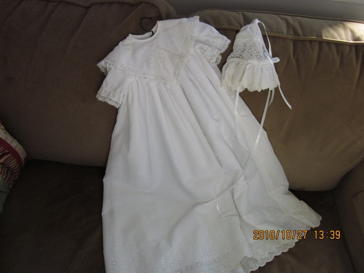 Handmade Baby's Christening Gown and Bonnet by BarbsHandmade, $140.00