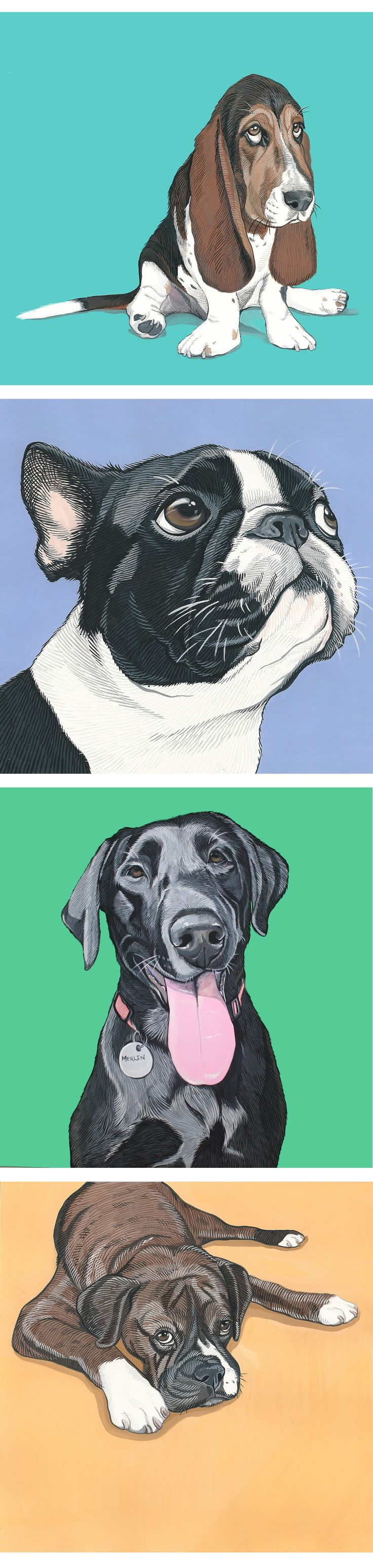 Whether it's a gift for the pet lover in your life or a piece for your living room, celebrate (Wo)Mans best friend by having a custom pet portrait made! Each piece is hand painted in gouache using your photos as a reference and finished with a bright  and colorful; background.  Visit www.artbymanda.com for more details- now taking orders for Christmas delivery.