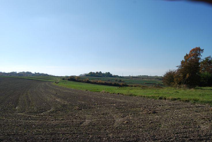 """Fort nr IXa """"Przy Krzyżu"""". Widok z zapola fortu nr Xb """"Zagrodnia""""."""