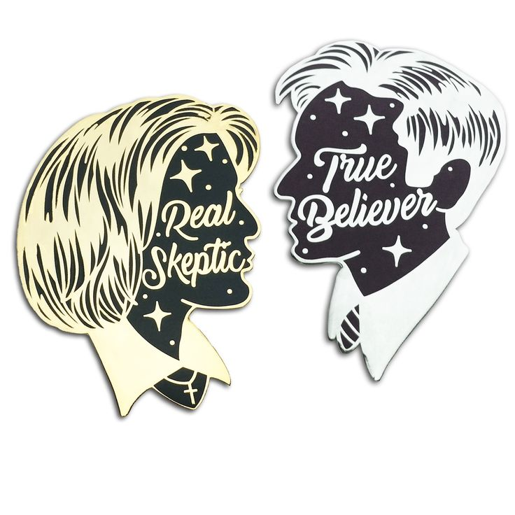 Real Skeptic and True Believer -enamel pin lapel pin flair two ghouls press