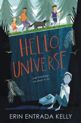 <2017 pin> Hello, Universe by Erin Entrada Kelly. SUMMARY: Lives of four misfits are intertwined when a bully's prank lands shy Virgil at the bottom of a well and Valencia, Kaori, and Gen band together in an epic quest to find and rescue him.