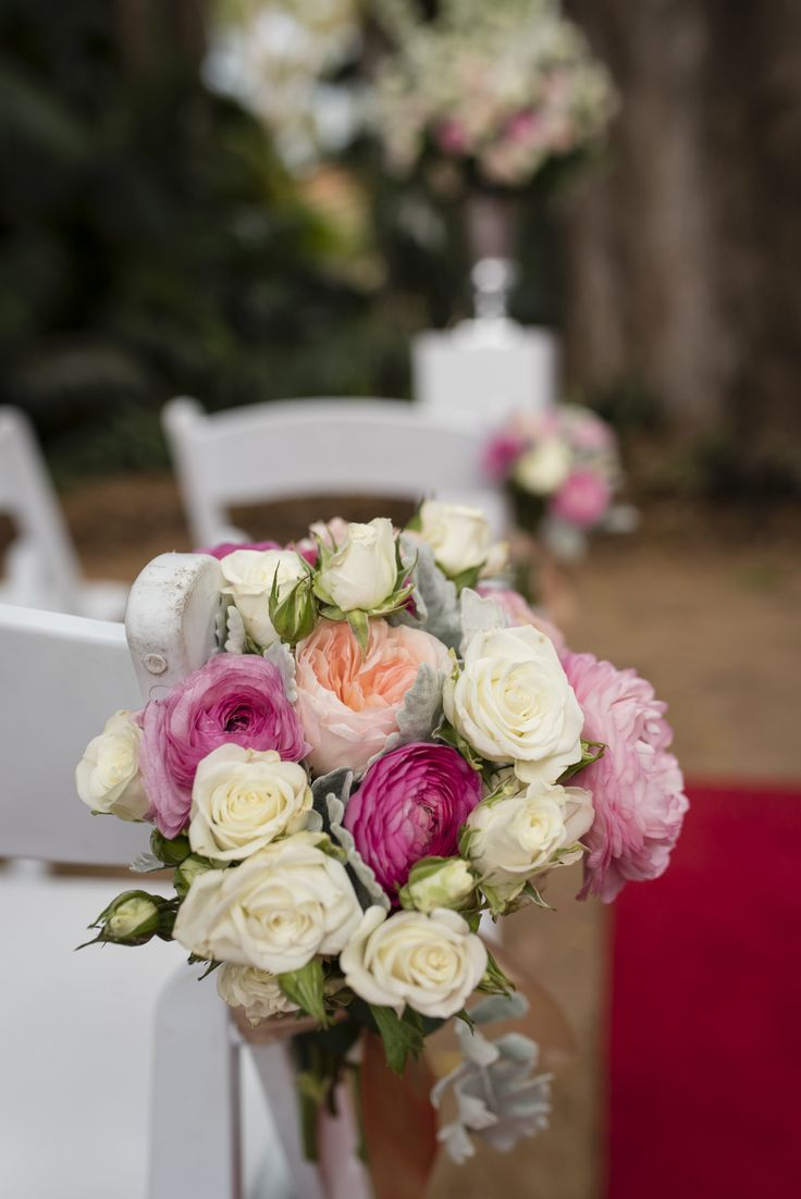Gorgeous chair flowers from Touched By Angels at UWA's Tropical Grove