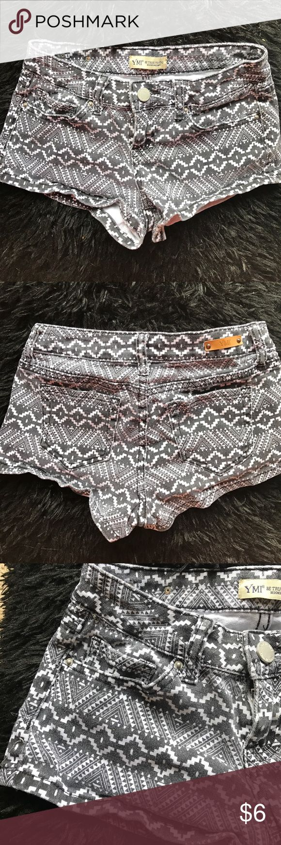 Black and White Aztec shorts YMI black and white Aztec shorts. Great condition. I've worn them about 5 times. Have a hard time letting them go, but they need a better home. 9 inches long in back YMI Shorts Jean Shorts