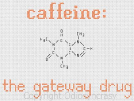 Caffeine chemical structure gateway drug counted cross stitch by Odiosyncrasy