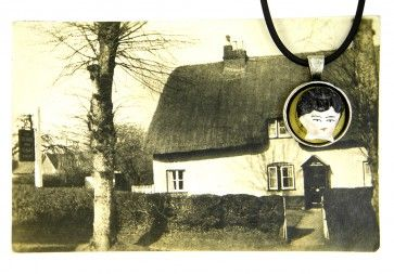 Janty Fry  Pendant from Victoria & Albert Inn, Netherhampton, Sailisbury, Wilts, England $120 (SOLD) Porcelian and Pewter