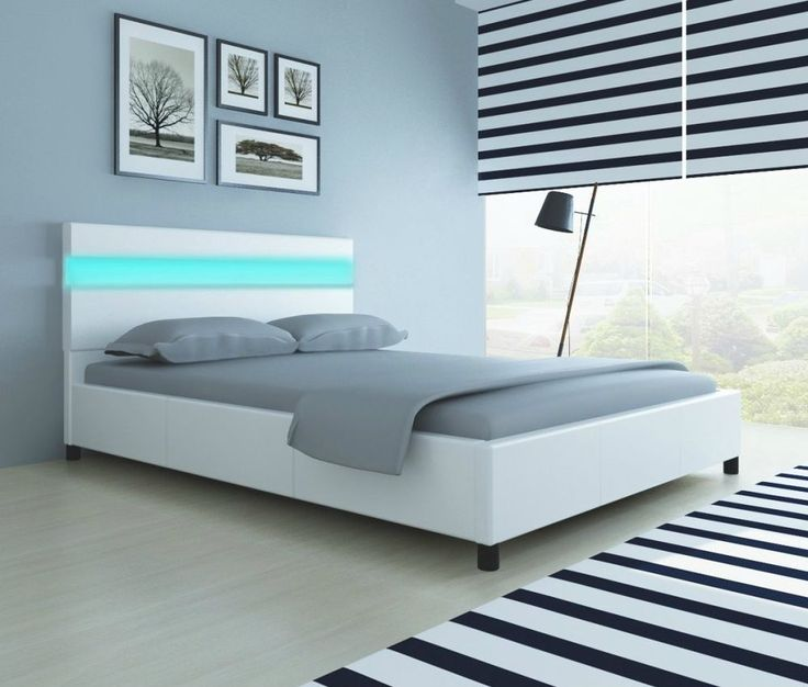 4ft6 double bed frame with slats led lights white faux leather bed