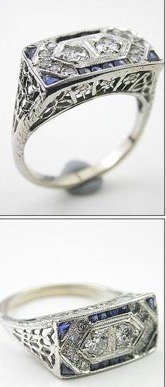 vintage art deco ring, white gold, sapphire, and diamond c. 1925