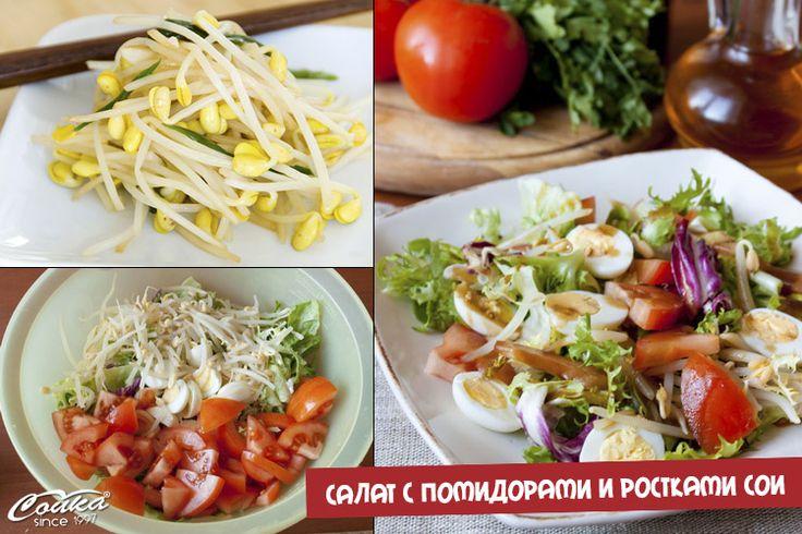 Салат с помидорами и ростками сои, ростки сои, оливковое масло, вегетарианство, вегетарианский салат, лёгкий салат, вегетарианские блюда, вегетарианская кухня, полезные блюда, здоровое питание, правильное питание, кулинарные рецепты, рецепты для похудения