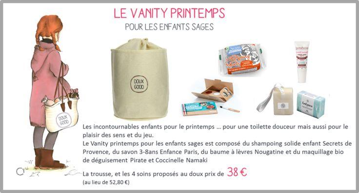 Vanity Doux Good - Printemps Soins bio pour enfants sages #soinsbio #soinsenfant #idéecadeau