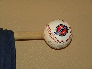 Baseball curtain rods- oh how i want a little boy one day!