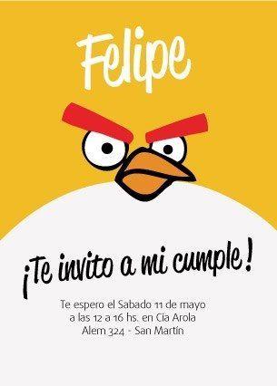 Tarjeta de Invitacion de Cumpleaños. BY AGUSTIN MARIGLIANO. ANGRY BIRDS