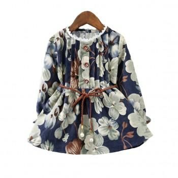 Sweet Floral Printed Long Sleeve Dress for Girls