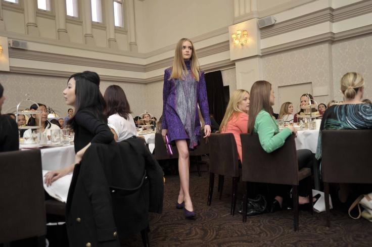 Trend: Bright and bold  Model wears Vivian Chan Shaw tunic, #OROTON bag and Django and Juliette at Paul Dane heels.   #qvb #dress #vivianchanshaw #pauldane #heels #purple #fashion