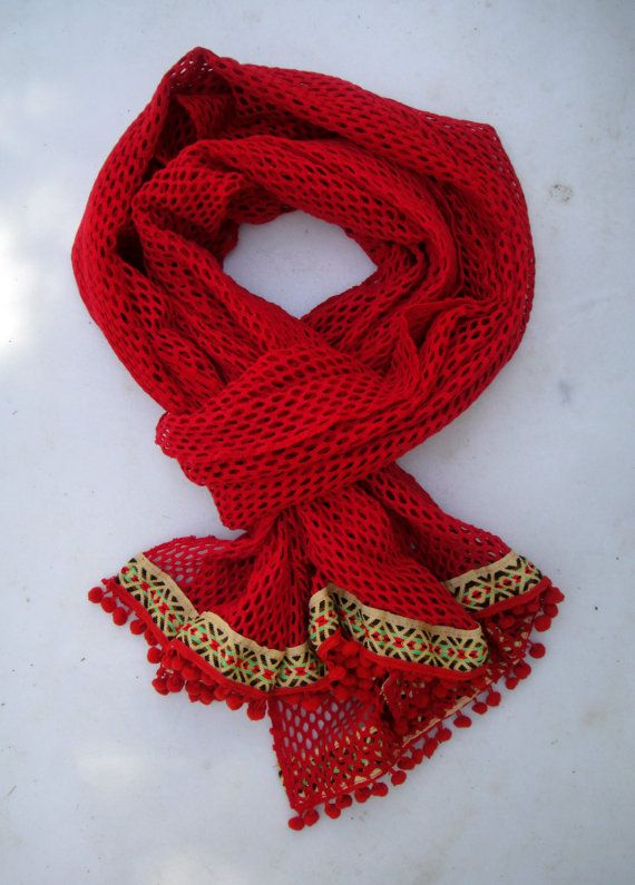 Check out this item in my Etsy shop https://www.etsy.com/listing/237821754/red-boho-chic-summer-or-spring-scarf