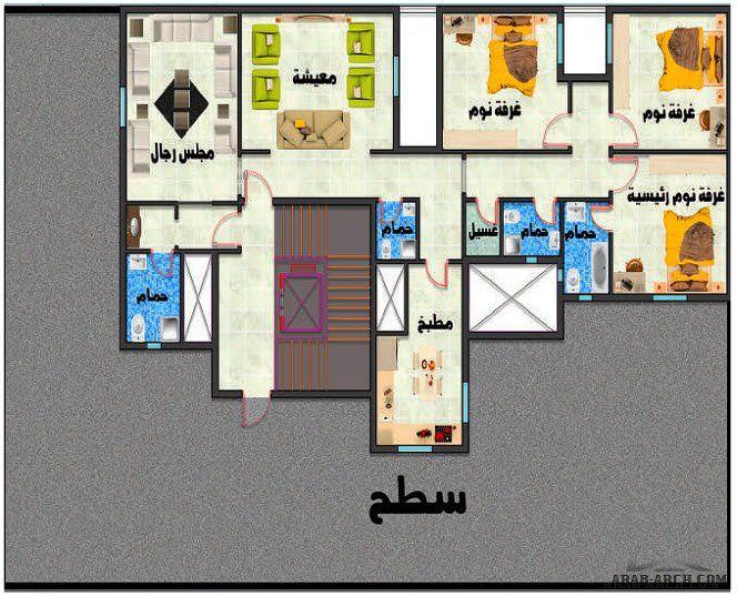تصاميم عمارة سكنية نمط سعودي طايقين و ملحق 5 شقق Arab Arch