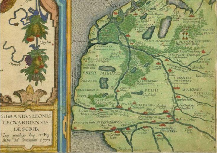 Kaart uit 1579 op basis van gegevens uit die tijd