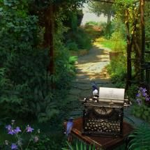 Writing in a fairy garden with the bluebirds of happiness