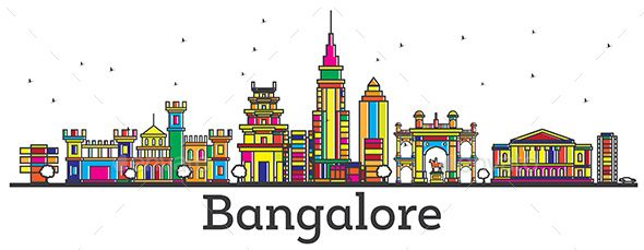 Outline Bangalore India City Skyline with Color Buildings Isolated on White. | City skyline, Skyline drawing, City prints