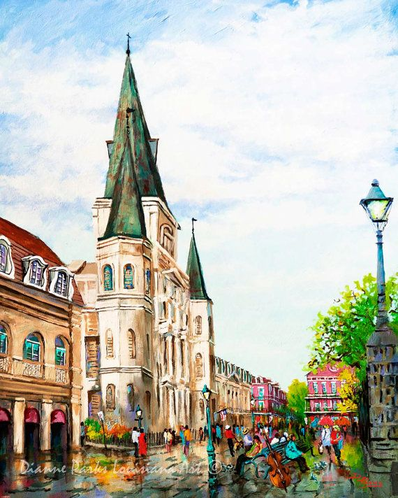 New Orleans Art, French Quarter, St. Louis Cathedral, New Orleans Artist, Dianne Parks,  Louisiana Painting, https://www.etsy.com/listing/195121325/new-orleans-art-french-quarter-st-louis
