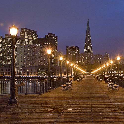 San Francisco At Night: Pier 7 And City Skyline