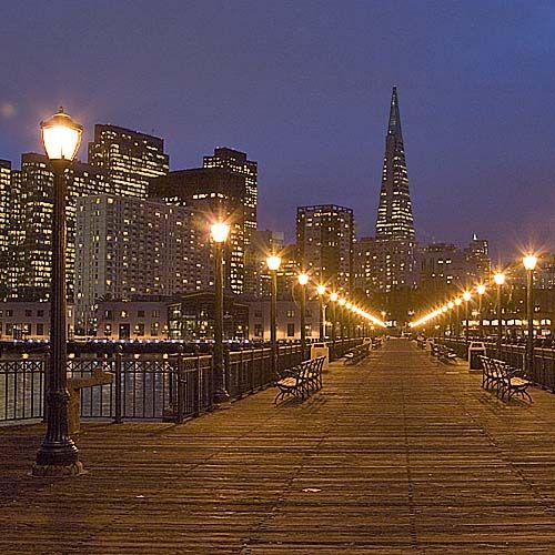 San Francisco at Night: Pier 7 and City Skyline
