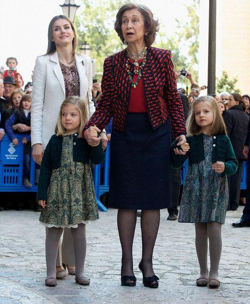 (L to R) Spanish Royals Princess Letizia, Princess Sofia, Queen Sofia and Princess Leonor attend Easter Mass at the Cathedral of Palma de Mallorca on April 8, 2012 in Palma de Mallorca, Spain.