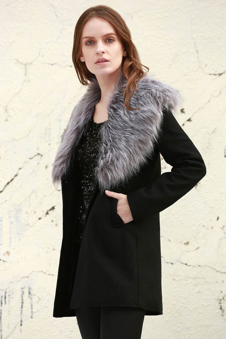 Boohoo Shawl Faux Fur Collar Coat - BLACK S