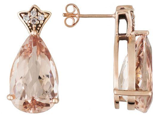 9.60ctw Cor-de-rosa Morganite(Tm) And .08ctw Pink Diamond Accents 14k