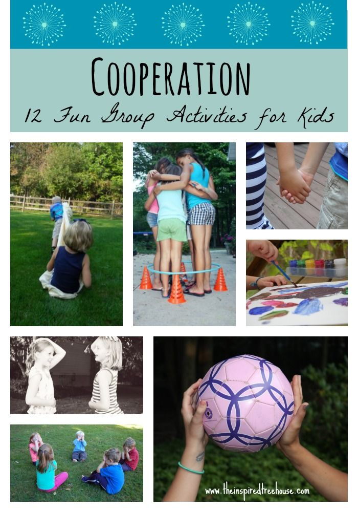 With an emphasis on teamwork and cooperation, these fun group activities will have kids working and playing together for hours!  #cooperativeactivitiesforkids #cooperation #workingtogether #pedipt #pediot