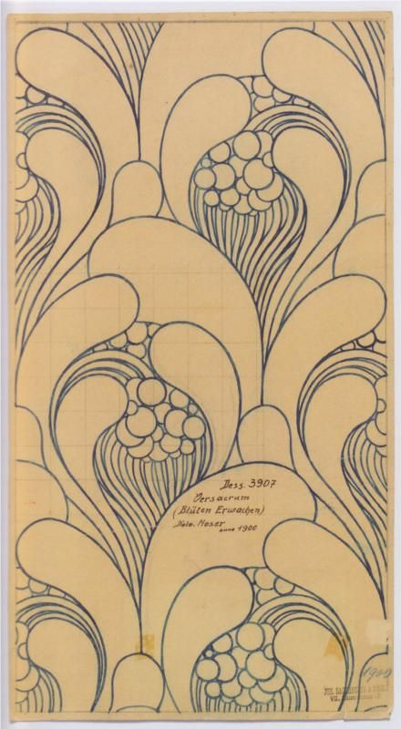 Fabric design for Backhausen c.1900 ~ artist Koloman Moser, Austria   . . . .   ღTrish W ~ http://www.pinterest.com/trishw/  . . . .  #Art_Nouveau #watercolor #doodle