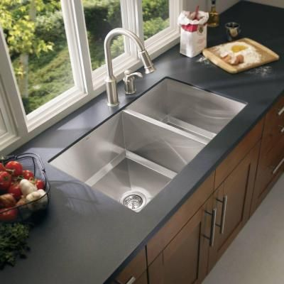 Elegant 1600 Series Undermount Stainless Steel 34 In. Double Bowl Kitchen Sink,  Matte Finish