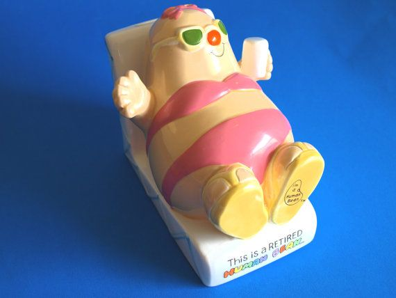 Enesco 1983 This is a Retired Human Bean Piggy Bank  - Collectible I'm a Human Bean Money Box - Made by Enesco