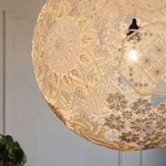 79 best feminine lamp shades images on pinterest chandeliers lace lamp blow up a balloon glue lacecrochet doilies to the balloon mozeypictures Images