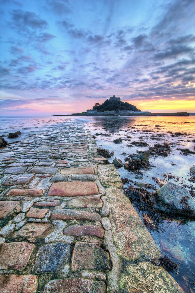 now in blue - Path to St Michael's Mount, Marazion, Cornwall, England