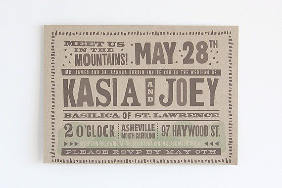 """Mountain Theme Wedding Invite by Dapper Paper.  Instead of the parental line we should put something like """"because we didn't do it quite right the first time"""" ha."""